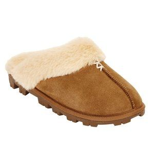Secret Treasures Tan Leather Clog Slipper 9/10 NWT